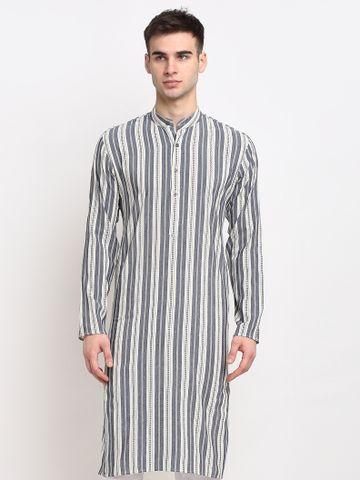 Jompers | Jompers® Men Grey-Cream & White Striped Cotton Kurta