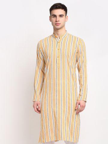 Jompers   Jompers® Men Yellow-Cream & White Striped Cotton Kurta