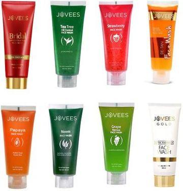 Jovees | JOVEES -Eight Flavour-Bridal Brightening,Gold Ultra Radiance,Papaya,De-Tan,Tea Tree,Grape,Neem,Strawberry. Face Wash  (120 ml)
