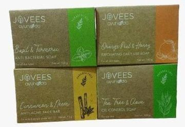 Jovees | JOVEES Ayurveda Soap Pack of Anti Bacterial soap + Exfoliating Daily use soap + Cinnamon neem soap + Tea tree & Clove soap  (4 x 100 g)
