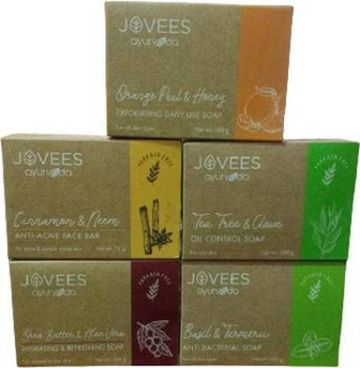Jovees | JOVEES Ayurveda Soap Pack of Anti Bacterial soap + Exfoliating Daily use soap + Cinnamon neem soap + Tea tree & Clove soap + Shea butter  (5 x 100 g)
