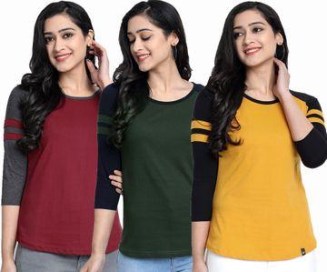 Juneberry | Juneberry Color block T-shirt for women- Set of 3