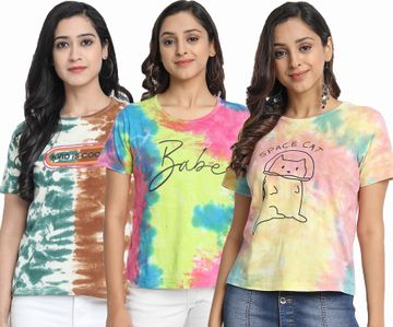 Juneberry | Juneberry Multicolor Dyed T-shirt- Set of 3