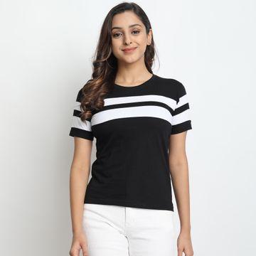 Juneberry | Junebeery Striped Black T-shirt For Women