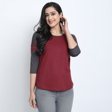 Juneberry | Juneberry Solid Maroon T-shirt For Women
