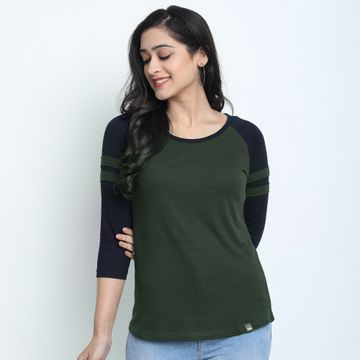 Juneberry | Juneberry Solid Olive T-shirt For Women