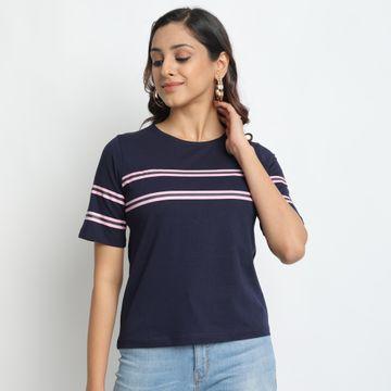 Juneberry | Juneberry Striped Navy T-shirt For Women