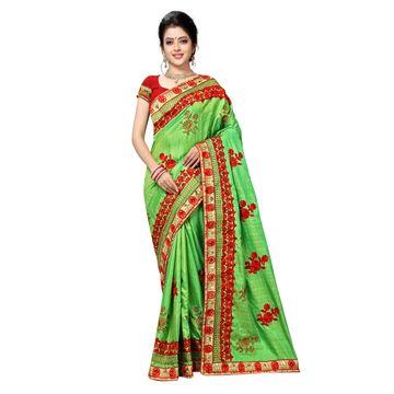 SATIMA   Designer Green Silk Blend Embroidered Saree