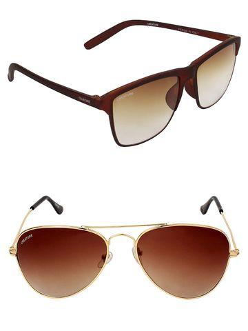 CREATURE | CREATURE Brown Aviator & Brown Sunglasses Combo with UV Protection (Lens-Brown|Frame-Golden & Brown)