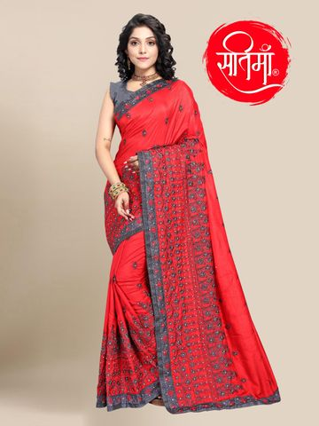 SATIMA | Designer Red Silk Blend Self-Design Embroidered Saree