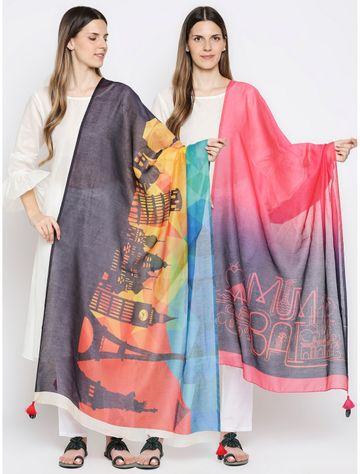 Get Wrapped | Get Wrapped Multicolour Digital Dupatta with Fancy Tassels for Women - Combo Pack of 2