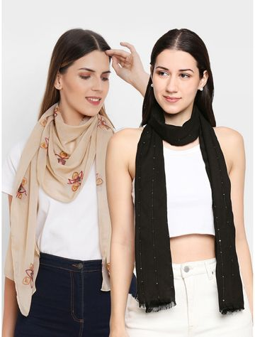 Get Wrapped | Get Wrapped Sequins Weaved & a Polyester Embrodered Scarves Combo for Women - Combo Pack of 2