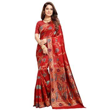 POONAM TEXTILE | Poonam Textile Woven Banarasi Art Silk Saree (Red)
