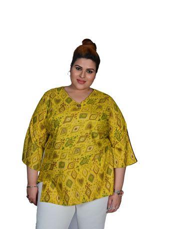 XMEX | XMEX Women Plus Size Mustard V-Neck Cut Work Design 3/4 Sleeves Cotton Top Blouse Tunic Kurti