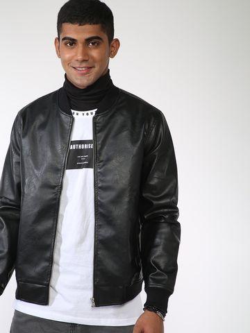 Blue Saint | Blue Saint Men's Black Regular Fit Leather Jackets