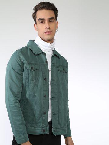 Blue Saint   Blue Saint Men's Green Regular Fit Denim Jackets