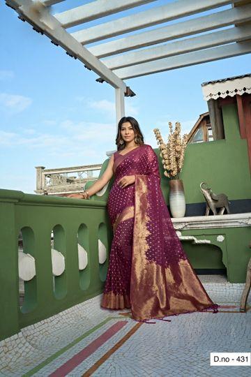 POONAM TEXTILE | Banaras Special Purple Hand Dyed Organza Silk Saree