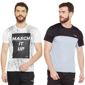 Masch Sports | Masch Sports Mens Polyester Printed & Colourblocked T-Shirts- Pack of 2 (White,Black & Light Grey)