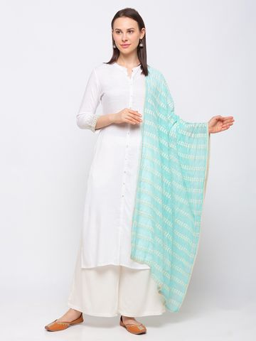 Ethnicity | Ethnicity Cotton Blend Straight  Women Turq Dupatta