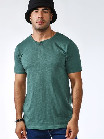 Blue Saint | Blue Saint Men's Green Skinny Fit T-Shirts