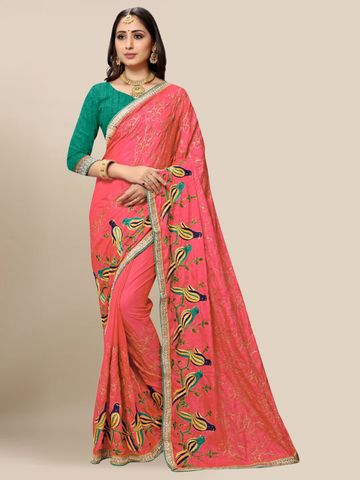 SATIMA | Women's Designer Peach Embroidered Silk Blend Saree