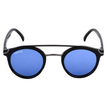 CREATURE | CREATURE Silver Stripped Round Sunglasses (Lens-Blue|Frame-Silver)
