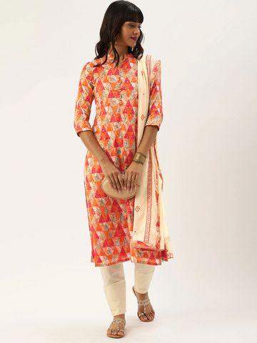 SATIMA   Orange Cotton Blend Dress Material