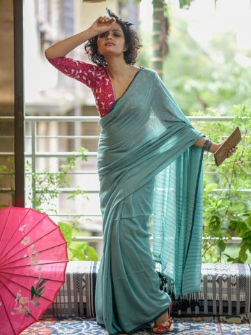 SATIMA | Green Linen Printed Saree