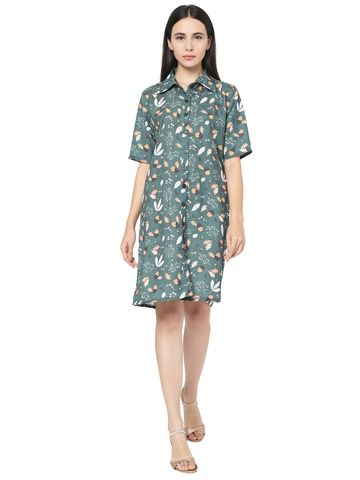 Smarty Pants | Smarty Pants women's polyester green floral print button down shirt dress