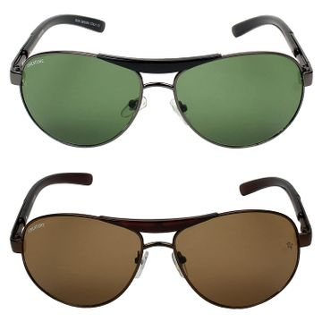 CREATURE   CREATURE Green & Brown Aviator Sunglasses Combo with UV Protection (Lens-Green & Brown Frame-Black & Brown)