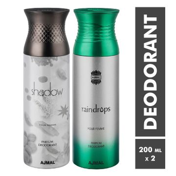 Ajmal | Shadow Homme and Raindrops Deodorant Spray - Pack of 2