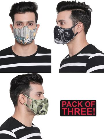 spykar | Spykar Assorted Designer Face Mask - Set of 3