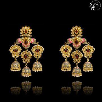 Swabhimann Jwellery | Swabhimann Ameena Flower Jhumki Grey