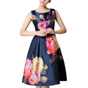 POONAM TEXTILE | Blue Floral Satin Western Dress