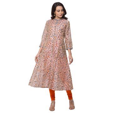 Ethnicity | Ethnicity Chanderi Silk A Line Women Peach Kurta