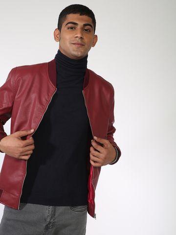 Blue Saint | Blue Saint Men's Red Regular Fit Leather Jackets