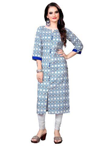 SATIMA | Women Blue Straight Printed Cotton Kurti