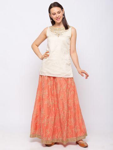 Ethnicity   Ethnicity Silk Blend Straight Sleeveless Women Off White Crop Top