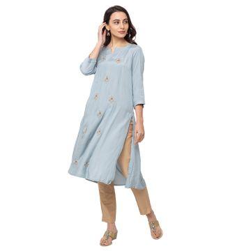 Ethnicity | Ethnicity Polyester Straight Women Grey Kurta