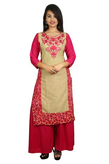 V Brown | PINK EMBROIDERY COTTON 3/4 SLEEVE STRAIGHT KURTA WITH PINK RAYON PALAZZO