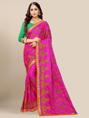 SATIMA | Women's Pink Embroidery Silk Blend Mirror Work Saree