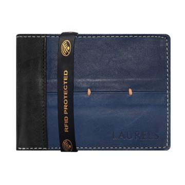 Laurels | Laurels Bloke Blue Genuine Leather Men Wallet With RFID Protection.
