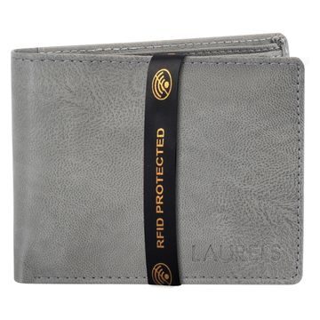 Laurels | Laurels Brye Grey Vegan Leather Men Wallet With RFID Protection.
