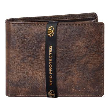 Laurels | Laurels Brye Brown Vegan Leather Men Wallet With RFID Protection.