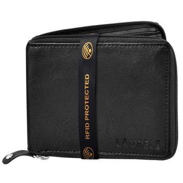 Laurels | Laurels Brye II Black Vegan Leather Zipper Men Wallet With RFID Protection.