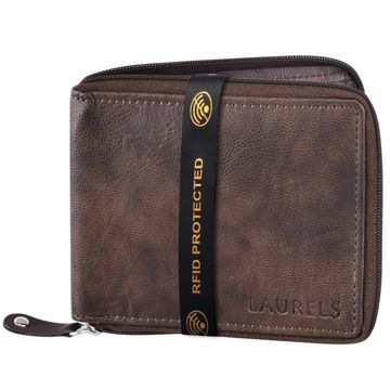 Laurels | Laurels Brye II Brown Vegan Leather Zipper Men Wallet With RFID Protection.