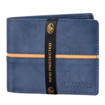 Laurels | Laurels Brye III Blue Vegan Leather Men Wallet With RFID Protection.