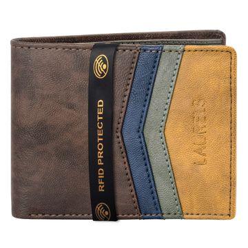 Laurels | Laurels Brye IV Brown Vegan Leather Men Wallet With RFID Protection.