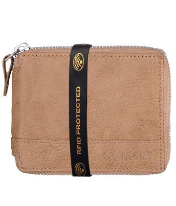 Laurels | Laurels Zipper II Beige Vegan Leather Men Wallet With RFID Protection.