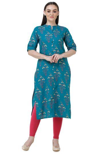 Lavanya | D.Blue Lavanya Printed Straight Kurta